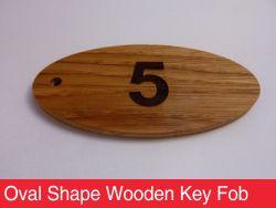 Oval Shape Wooden Key Fob